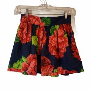 Girl's Navy and Red Floral Skirt